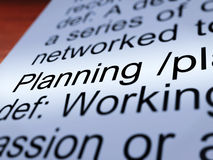 Planning Definition Closeup Showing Organizing. Planning Definition Closeup Shows Organizing Strategy And Scheme Royalty Free Stock Photo