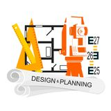 Planing and design of housing symbol Stock Images