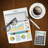 Planning family budget. Financial document. With a calculator and coffee on the table. Stock  illustration Stock Photos