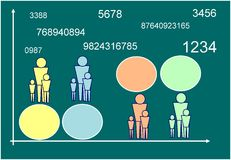 Planning. Family or city budget. The painting shows a graph planning budget of family, city or any organization. Designers can add their numbers in the circles Stock Photo