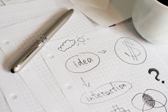 Planning. A financial plan at coffee break stock image