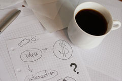 Planning. A financial plan at coffee break royalty free stock photos