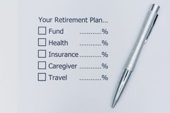 Planning the future that, after retirement, you should allocate Stock Photography