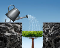 Planning For Future Success. Business concept with a businessman and businesswoman lifting a watering can to help a tree grow into a future bridge to achieve Stock Image