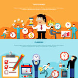 Planning Horizontal Banners Set. Two horizontal time management banners with flat human characters running clock and money signs with text vector illustration Stock Images