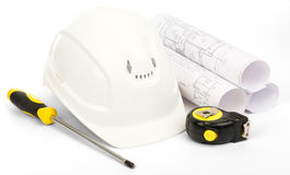 Planning of house construction on white Royalty Free Stock Images