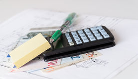 Planning house costs. Planning a new house building costs Stock Image