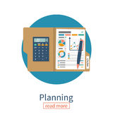 Planning icon.  Data analysis. Planning icon. Business management. Data analysis, annual report. Folder with graphs and diagrams, calculator pen. Vector Stock Photography