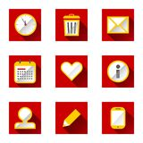 Planning icons. Red icon set in flat design with long shadows Vector Illustration