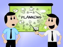 Planning Icons Represents Objectives And Aspirations 3d Illustration. Planning Icons Sign Showing Target Organizing And Aim 3d Illustration vector illustration