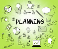 Planning Icons Represents Sign Objectives And Aspirations. Planning Icons Showing Target Organizing And Aim Stock Photo