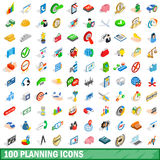 100 planning icons set, isometric 3d style Royalty Free Stock Photos