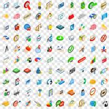 100 planning icons set, isometric 3d style Royalty Free Stock Photography