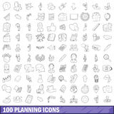 100 planning icons set, outline style Stock Photography
