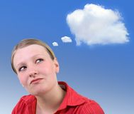 Planning - Idea cloud. Young attractive businesswoman planning, with idea cloud for your text or image royalty free stock photos