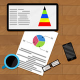 Planning infochart on tablet. Vector presentation modern economic graphic illustration Stock Photos