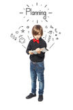 Planning from little boy Royalty Free Stock Image