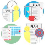 Planning and management of business set icons Royalty Free Stock Images