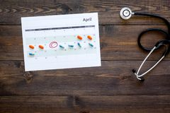 Planning medical examination concept. Regular medical examinations. Calendar with date circled, pills and stethoscope on. Planning medical examination concept Royalty Free Stock Photos