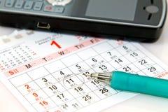 Planning met kalender royalty-vrije stock afbeeldingen