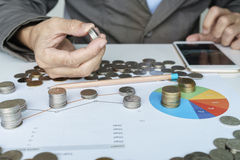 Planning money investment in chart Royalty Free Stock Photo
