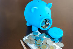 Planning money with saving from Piggy Bank Stock Images