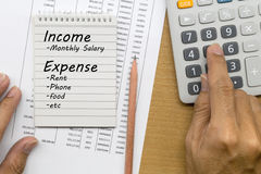 Planning monthly income and account expenses Royalty Free Stock Image