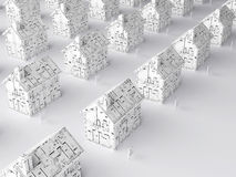 Planning for a new home. Illustration dipicting the housing market and plans for the future (from above Stock Image