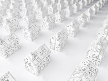Planning for a new home. Illustration dipicting the housing market and plans for the future (above left Royalty Free Stock Image