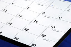 Planning the new month from a calendar Royalty Free Stock Photography