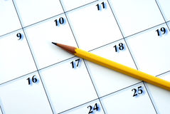 Planning the new month from a calendar Stock Images