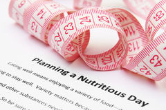 Planning a nutritious day. Close up of measure tape onPlanning a nutritious day Royalty Free Stock Images