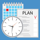 Planning and organization of time flat Stock Photography