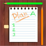 Planning on paper, green, orange pencils Royalty Free Stock Photography
