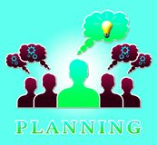 Planning People Representing Goals Objectives 3d Illustration. Planning People Lightbulb Representing Goals Objectives 3d Illustration Royalty Free Stock Photography