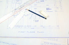 Planning permission required. House plans as provided to planning department to obtain permission to build Stock Photos