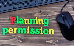 Planning permission words on table. Planning permission words on wooden table stock photos