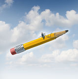 Planning Potential. Business concept as a businessman guiding a giant yellow pencil with a harness as a metaphor for creative leadership and taking control of Stock Photography