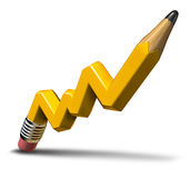 Planning Profit Growth. Planning profit and creative growth concept with a yellow wooden pencil in the shape of an  upward stock market graph representing Stock Photos