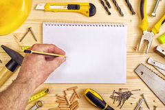 Planning a Project in Carpentry and Woodwork Industry Royalty Free Stock Photography