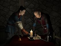 Planning the Raid. Two Medieval or Fantasy Outlaws in a dark candlelit tavern room planning a raid, 3d digitally rendered illustration Stock Photos