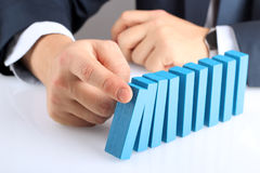 Planning, risk and strategy in business, businessman  pushing  w Royalty Free Stock Image