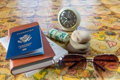 Planning and saving for travel - travel flat lay objects stock photos