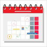 Planning schedule concept banner with characters. Can use for web banner, infographics, hero images. Flat isometric vector royalty free illustration