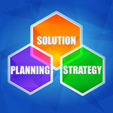 Planning, solution, strategy in hexagons, flat design Stock Image