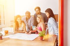 Planning startup project in seminar. As business team Royalty Free Stock Photo