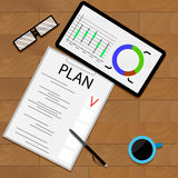 Planning statistical forecast. Organization and management, graphic analyzing, vector illustration Royalty Free Stock Images
