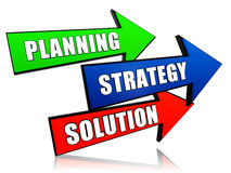 Planning, strategy, solution in arrows. Planning, strategy, solution - text in 3d arrows, business growth concept words Stock Image
