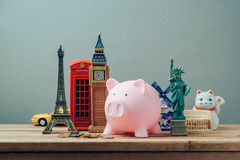 Planning summer vacation, budget trip concept with piggy bank. Planning summer vacation, money budget trip concept with piggy bank royalty free stock photo