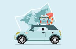 Planning summer vacations Travel by car. Planning summer vacations Travel by car, World Travel on Summer holiday,Tourism and vacation theme  Flat design vector Stock Photo